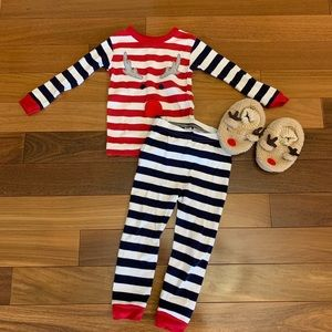Baby gap Christmas reindeer pajamas and slippers